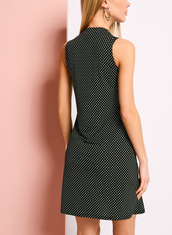Mock Neck Dot Print Trapeze Dress, , hi-res