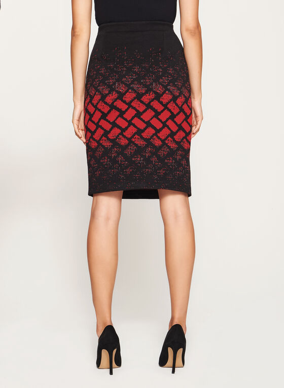 Geometric Print Pencil Skirt, Black, hi-res