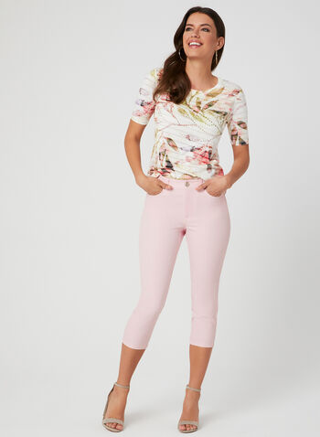 Capri coupe signature à jambe étroite, Rose, hi-res,  5 poches, broderies, coton, printemps 2019