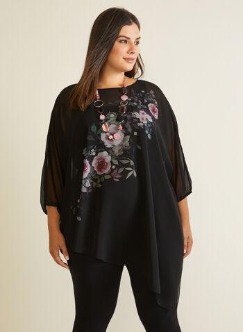 Floral Print Asymmetric Blouse, Black,  blouse, top, floral, tunic, asymmetric, chiffon, fall winter 2020