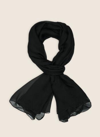 Foulard oblong en mousseline, Noir,  foulard, léger, oblong, mousseline, printemps été 2020