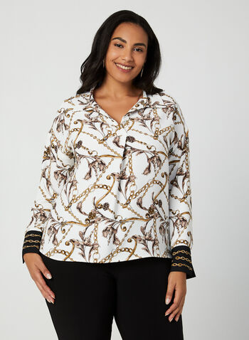 Joseph Ribkoff - Chain Print Blouse, White,  Canada, Joseph Ribkoff, blouse, long sleeves, chain print, fall 2019, winter 2019