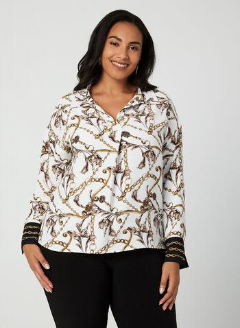 Joseph Ribkoff - Chain Print Blouse, White, hi-res,  Canada, Joseph Ribkoff, blouse, long sleeves, chain print, fall 2019, winter 2019