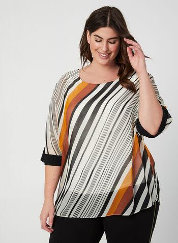 Stripe Print Kimono Sleeve Blouse , White, hi-res,  blouse, poncho, kimono sleeves, stripes, fall 2019, winter 2019
