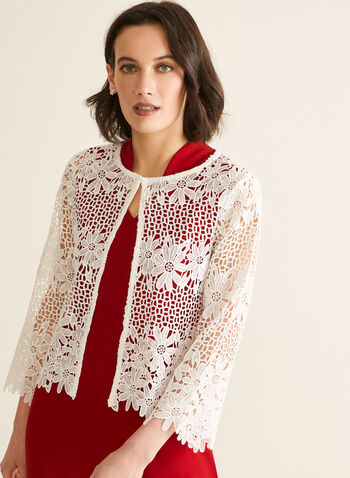 Floral Crochet Top, Off White,  top, blouse, floral, crochet, 3/4 sleeves, scoop neck, semi-open, spring summer 2020