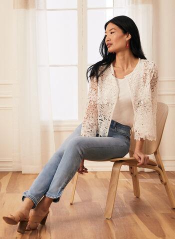 Haut en dentelle crochet florale, Blanc cassé,  haut, crochet, manches 3/4, printemps été 2020