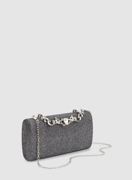 Box Evening Clutch, Silver