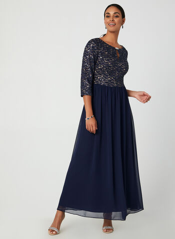 Sequin Bodice Dress, Blue, hi-res,  3/4 sleeves, lace, sequin, bodice, gown, dress, chiffon, long skirt, fall 2019, winter 2019