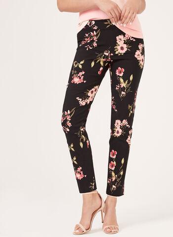 Floral Print Pull-On Slim Leg Pants, Black, hi-res
