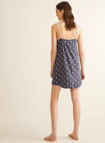 Claudel Lingerie - Robe de nuit imprimée, Gris,  printemps été 2020, robe de nuit, pyjama, chemise de nuit, bretelles, coton, imprimé, Claudel Lingerie