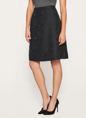 Flared Brocade Skirt, Black, hi-res