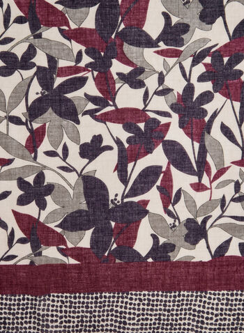 Floral Print Scarf, Red, hi-res,  dot print, floral print, border, fall 2019, winter 2019