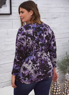 Floral Print Boat Neck Top, Purple