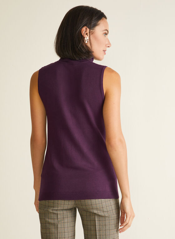 Sleeveless Turtleneck Sweater, Purple