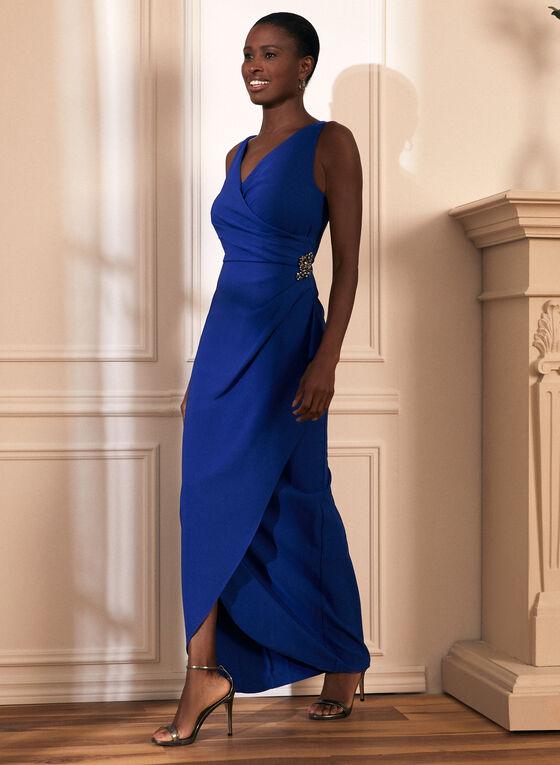 Robe de soirée drapée avec broche  , Bleu