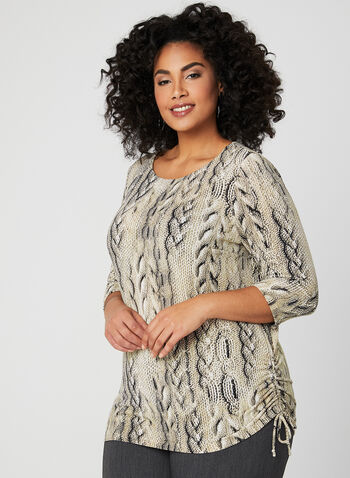 Cable Knit Print Top, Brown, hi-res