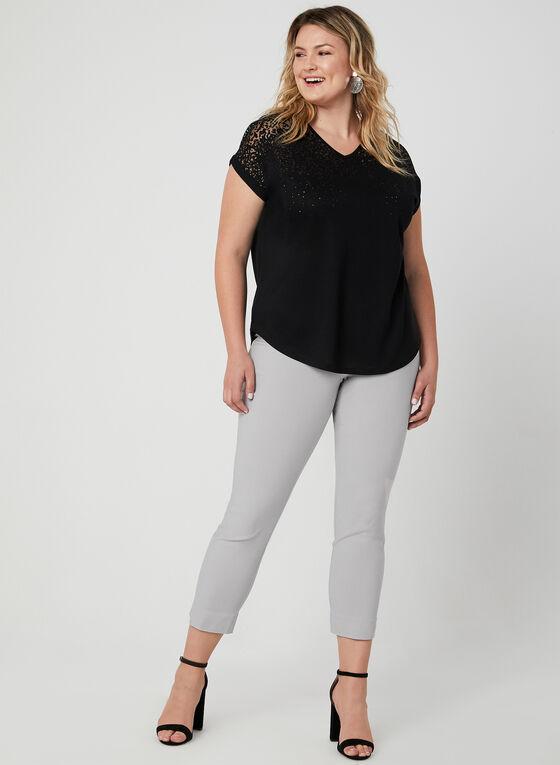 T-shirt avec jeu de transparence, Noir, hi-res