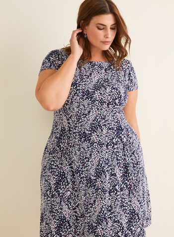 Floral Print Fit & Flare Dress, Purple,  spring summer 2020, short sleeves, jersey, floral print, pleated skirt
