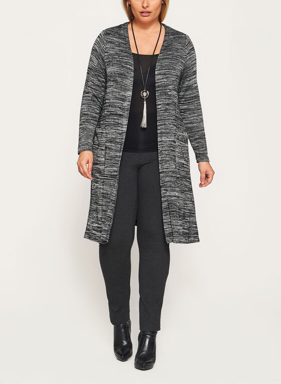 Long Sleeve Heather Knit Cardigan, Grey, hi-res
