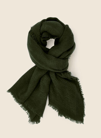Fringed Twill Scarf, Green,  fall winter 2020, scarf, fringed, accessories