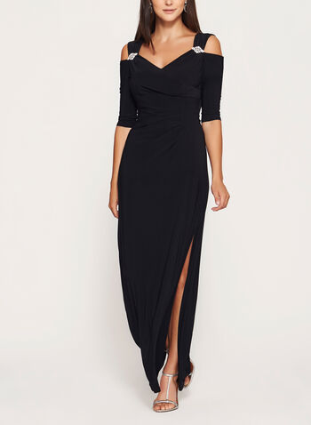 Cold Shoulder Jersey Dress, Black, hi-res