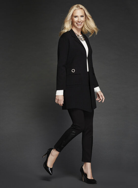 Ness - Notch Collar Cardigan, Black, hi-res
