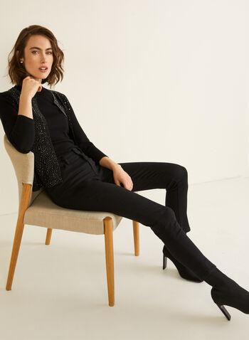 Cardigan partiellement ouvert à strass, Noir,  automne hiver 2020, cardigan, ouvert, strass, métallisé, métallique, détail, ornement, garniture