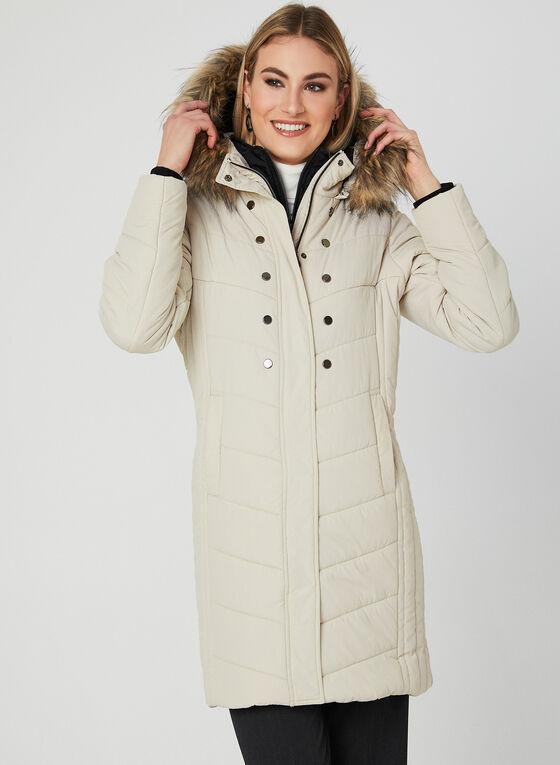 Manteau matelassé avec capuchon amovible, Blanc cassé, hi-res