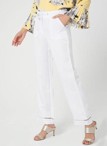 Pantalon à coupe moderne et jambe large, Blanc, hi-res