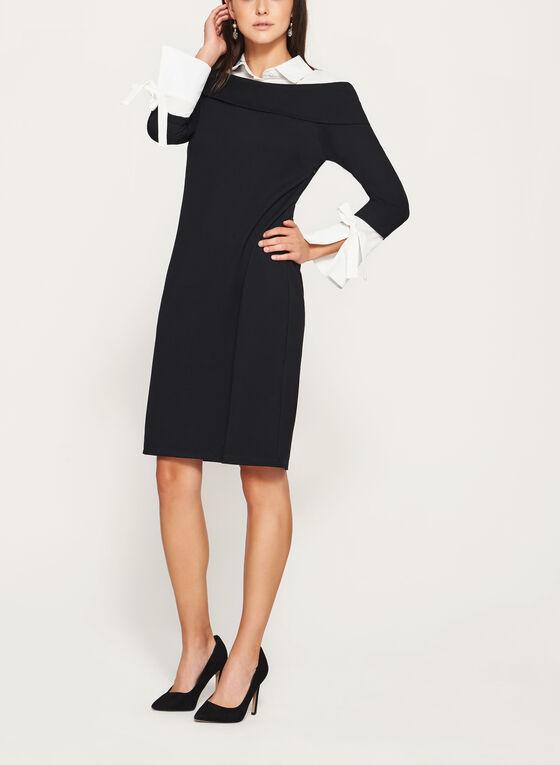 Elena Wang - Collared Sheath Dress, Black, hi-res