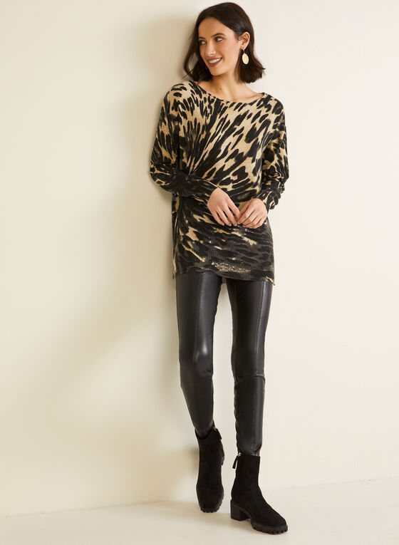 Knitted Leopard Print Sweater, Brown