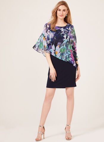 Tropical Print Cold Shoulder Poncho Dress, Blue, hi-res