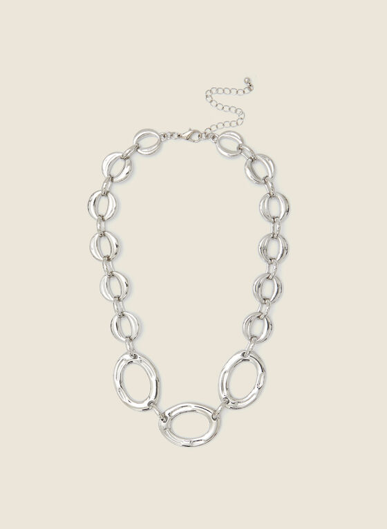 Large Link Silver Necklace, Silver