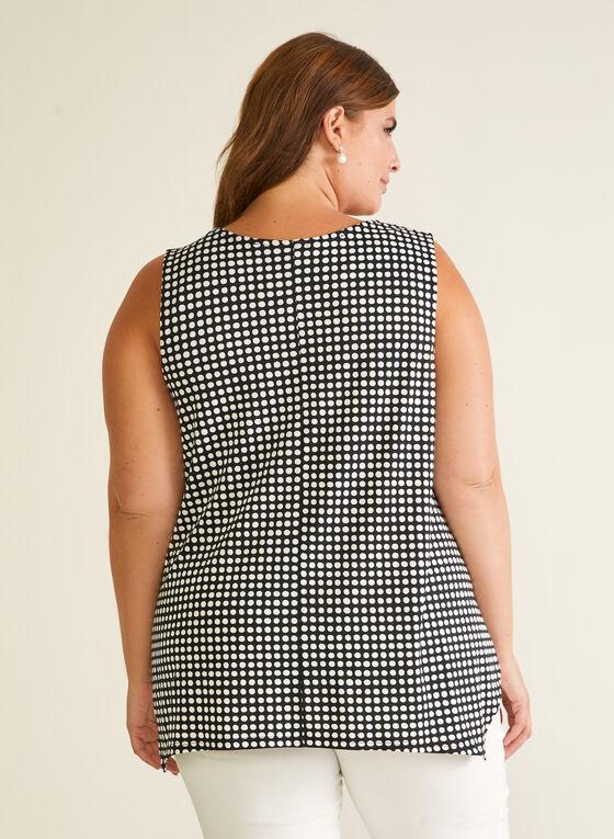 Polka Dot Print Sleeveless Top, Black