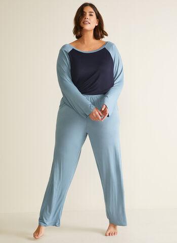 Ensemble pyjama contrastant, Bleu,  automne hiver 2020, pyjama, ensemble