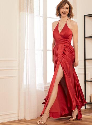 Robe satinée à fines bretelles, Rouge,  robe de bal, fines bretelles, sans manches, col V, satinée, printemps été 2021
