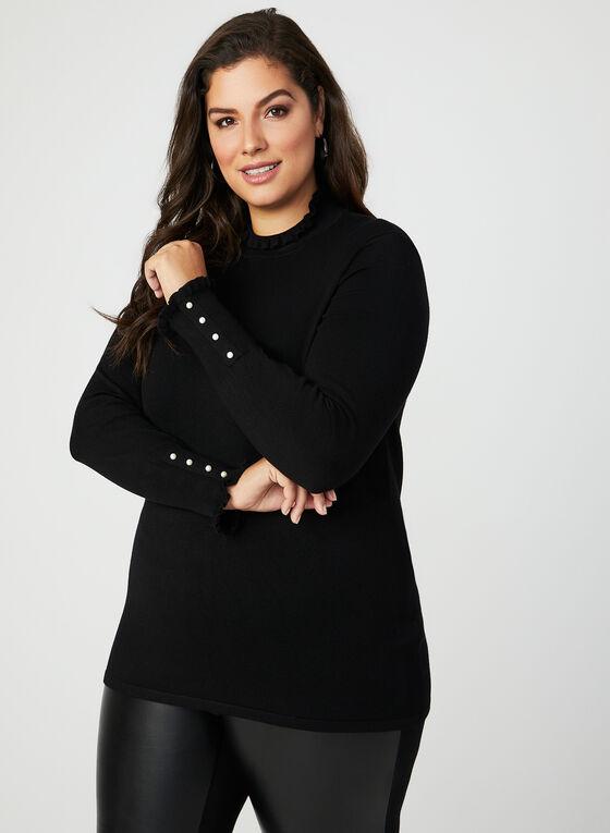 Pull en tricot à détails volantés et perles, Noir, hi-res