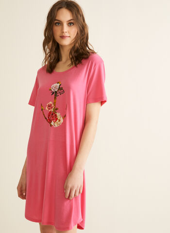 Claudel Lingerie - Printed Nightgown, Pink,  spring summer 2020, short sleeves, soft, stretchy fabric, scoop neck, print