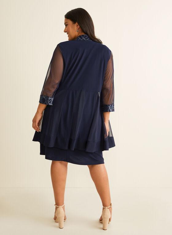 Robe et veste à bordures pailletées, Bleu