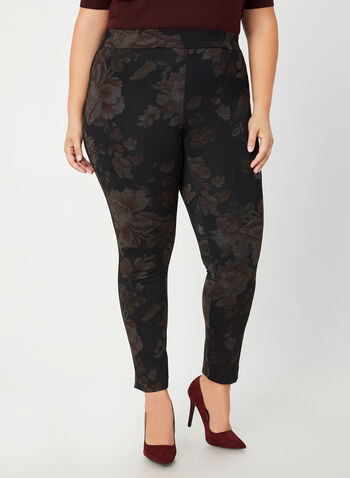 Leaf Print Slim Leg Pants, Black, hi-res,  canada, pants, print, leggings, slim leg, slim pants, print pants, print leggings, floral print, leaf print, ponte de roma, fall 2019, winter 2019