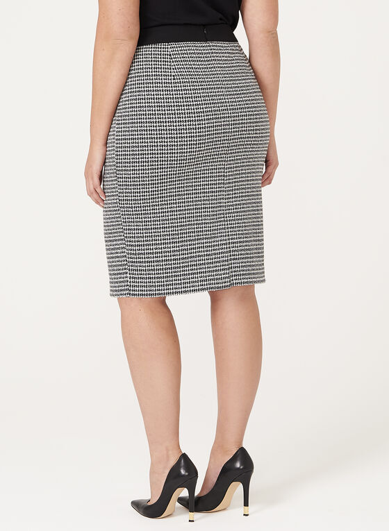 Houndstooth Pencil Skirt, Black, hi-res
