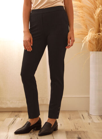 Slim Leg Pull-On Pants, Black,  pants, pull-on, slim, fall winter 2020