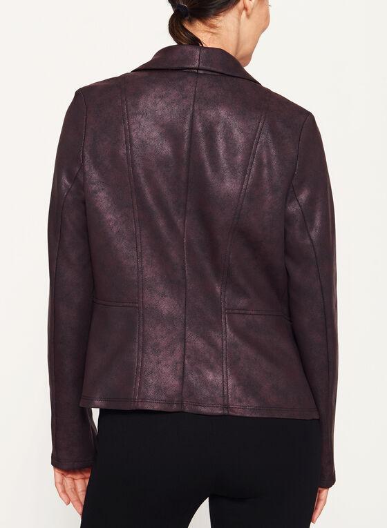 Veste imitation cuir avec détail zippé, Violet, hi-res