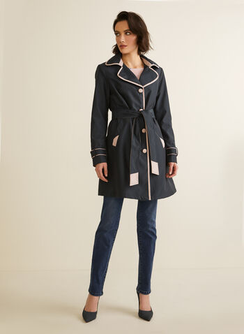 Novelti - Contrast Detail Trenchcoat, Blue,  coat, trenchcoat, contrast, buttons, ribbon, belt, lapel collar, spring summer 2020