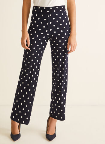 Polka Dot Modern Fit Pants, Blue,  pants, modern fit, pull-on, polka dot, straight leg, jersey, spring summer 2020