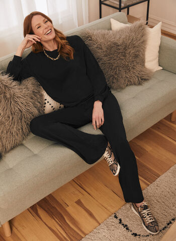 Drawstring Hemline Sweater Knit Top, Black,  top, long sleeves, round neck, drawstring, modal, knit, sweater, spring summer 2021