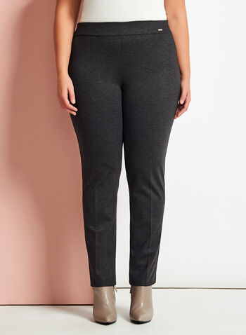 Ponte Pull-On Slim Leg Pants, Black, hi-res