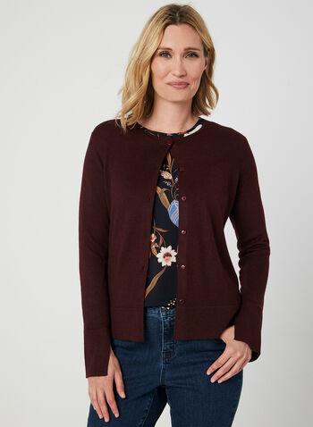 Long Sleeve Knit Cardigan, Purple,  cardigan, knit, long sleeves, button down, fall 2019