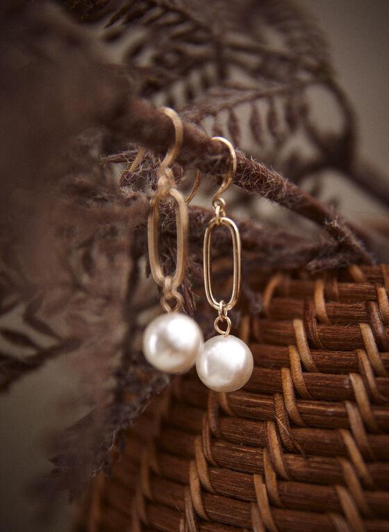 Pearl Dangle Oval Link Earrings, Off White