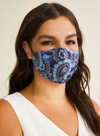 Masque en tissu motif cachemire, Bleu,  masque, cachemire, coton, ajustable, automne hiver 2020